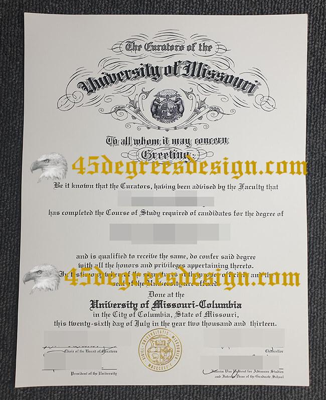 University of Missouri diploma, fake diploma