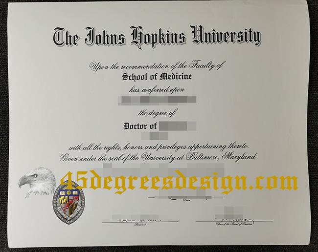The Johns Hopkins University diploma