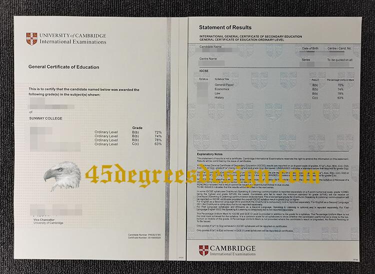Cambridge International Examinations GCE certificate