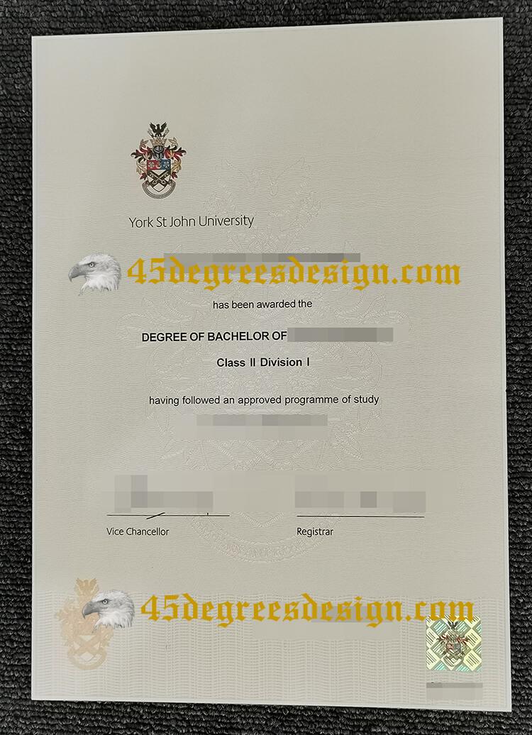 York st john university degree certificate