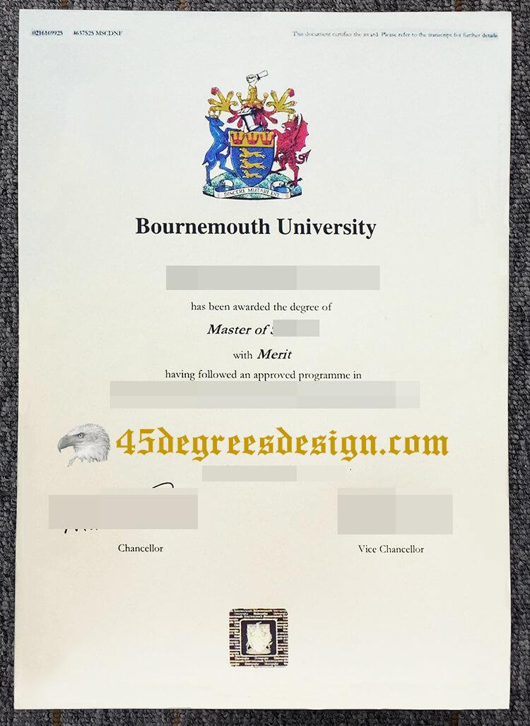 Bournemouth University degree certificate
