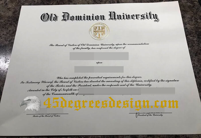 Old Dominion University diploma
