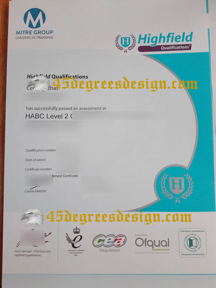 Highfield Qualifications certificate