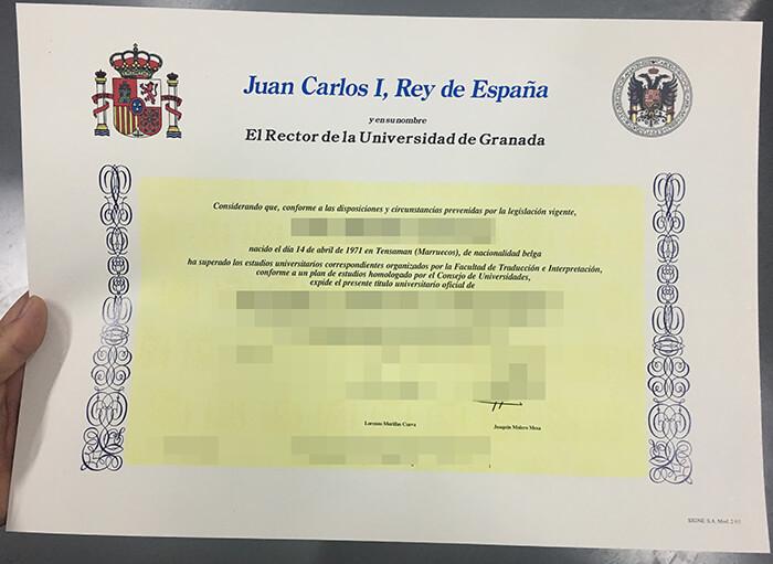 Universidad de Granada diploma