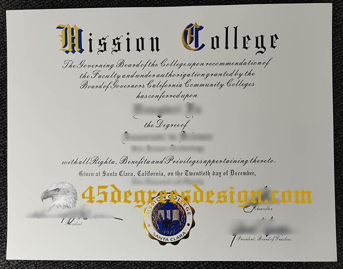 Mission College diploma