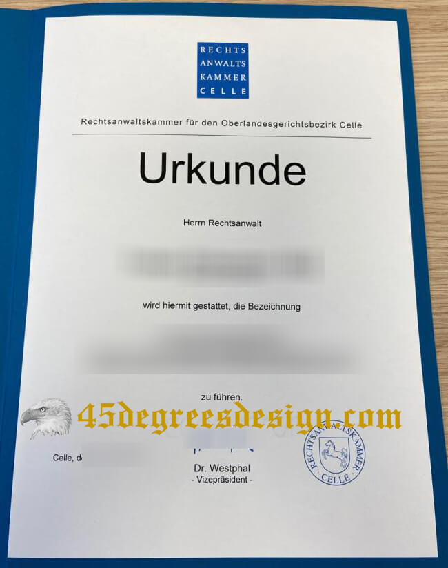 Rechtsanwaltskammer Celle Urkunde