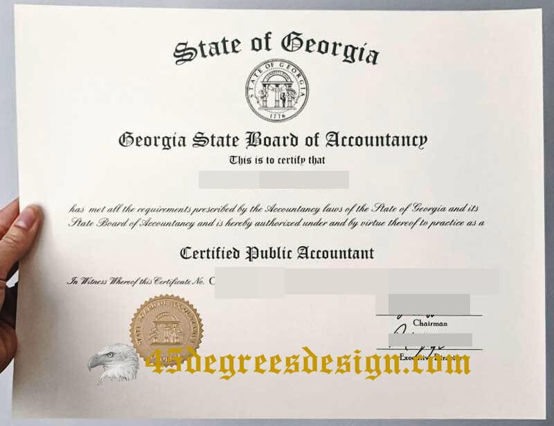 GEORGIA STATE BOARD OF ACCOUNTANCY CPA certificate