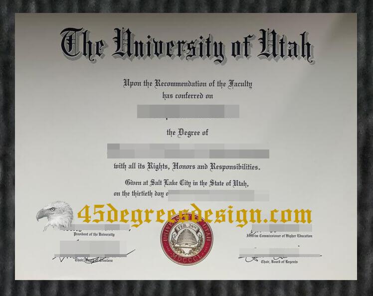 University of Utah degree certiifcate