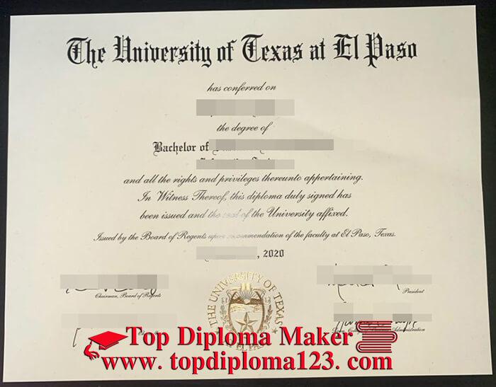 UTEP diploma