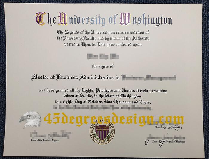 University of Washington MBA diploma