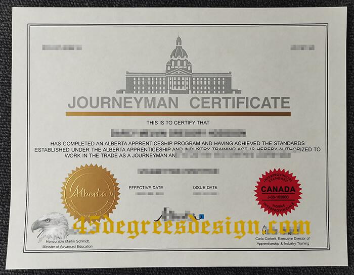 Alberta Journeyman certificate