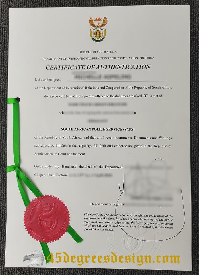 South Africa Degree Certificate Of Authentication