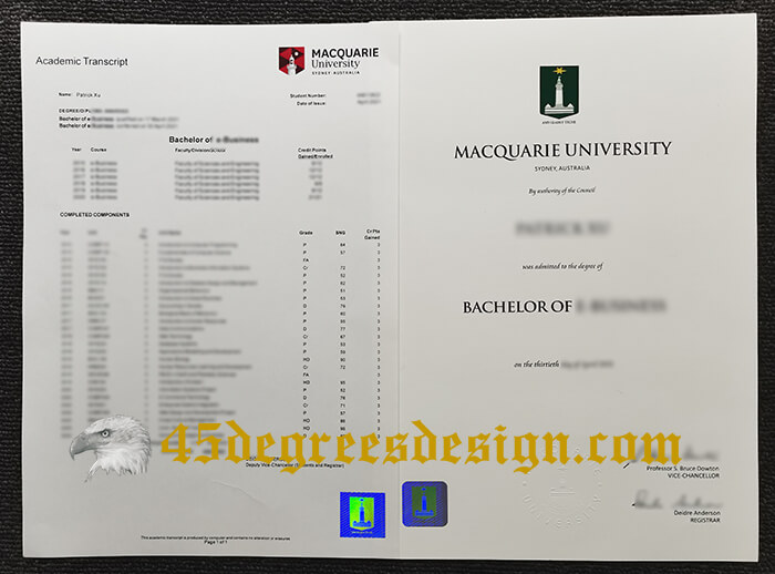 Macquarie University degree and transcript