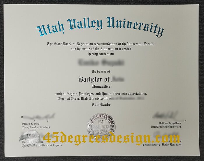 Utah Valley University diploma