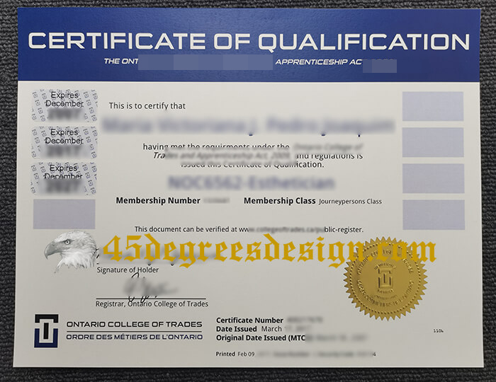 Ontario College of Trades certificate
