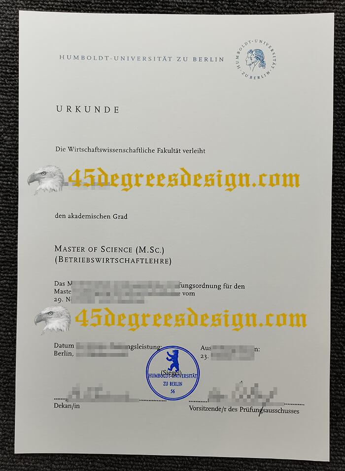 fake HU Berlin Urkunde, Humboldt-Universität zu Berlin diploma