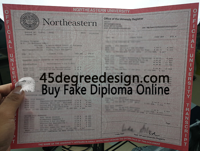 Northeastern University transcript with watermarks