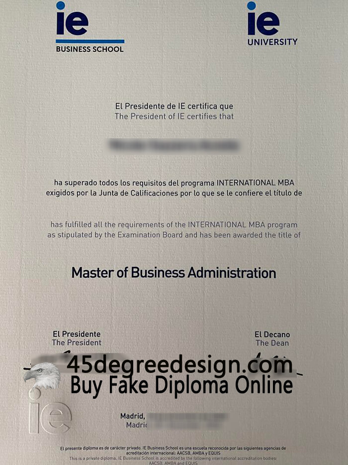 IE Business School diploma