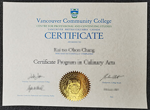 Vancouver Community College certificate