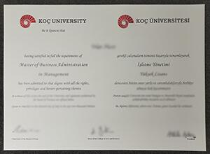 Koc University diploma