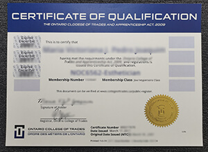 Ontario College of Trades and Apprenticeship act Certificate of Qualification sample, Buy fake Ontario College of Trades certificate