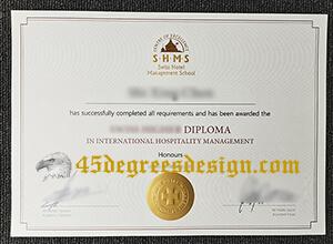 SHMS Swiss Hotel Management School diploma sample, Buy fake SHMS degree