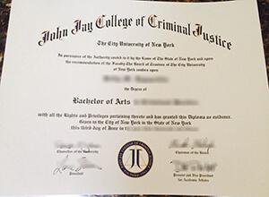 John Jay College of Criminal Justice fake diploma sample