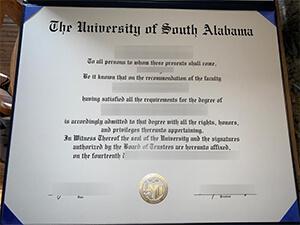 University of South Alabama diploma sample and transcripts free,  USA fake degree maker