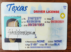 Order a fake Texas Driver License with Scannable Details