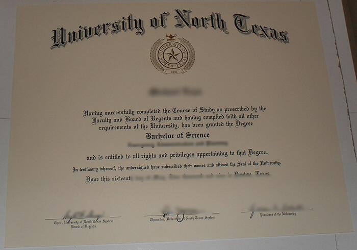 UNT diploma, UNT degree