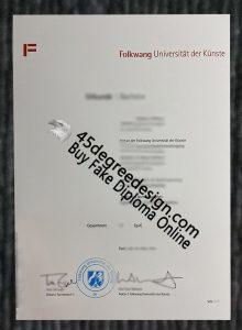 Folkwang Universität der Künste diploma