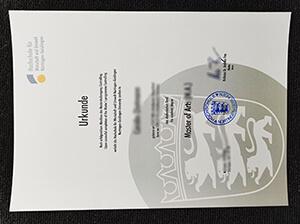 HfWU Hochschule diploma, HfWU Hochschule Urkunde.