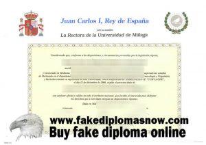 Universidad de Málaga diploma
